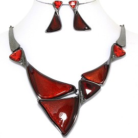 "19"" Necklace Earring Set Triangles Red Dark Gray Tone FNE739"