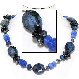 "20"" Necklace Smooth Stone Oval Crystal Bead Black Blue FNE749"