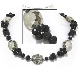 "20"" Necklace Smooth Stone Oval Crystal Bead Black Gray FNE750"