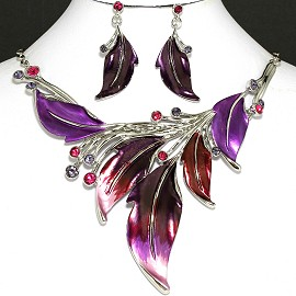"20"" Necklace Earring Set Leaf Purple Fne752"