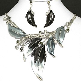 "20"" Necklace Earring Set Leaf Gray Black Fne753"