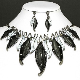 "20"" Necklace Earring Set Leaf Gray Black Fne754"