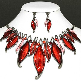 "20"" Necklace Earring Set Leaf Dark Red Pink Fne756"