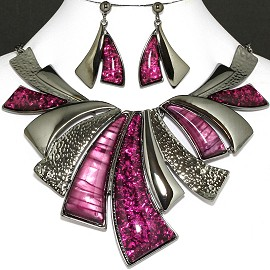 "20"" Necklace Earring Set Leaf Purple Dark Silver Fne757"
