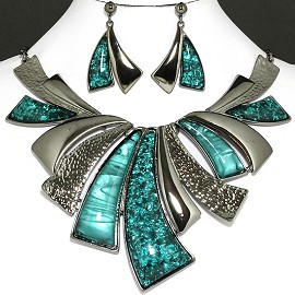 "20"" Necklace Earring Set Leaf Peacock Green FNE758"
