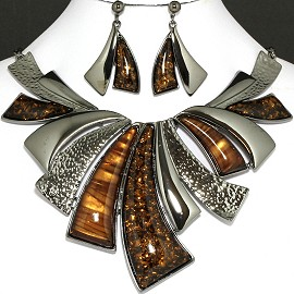 "20"" Necklace Earring Set Leaf Tiger Eye Dark Silver Fne759"