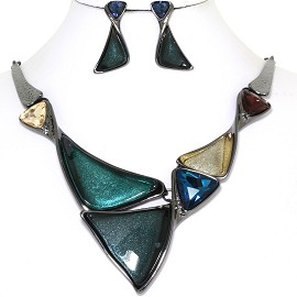 "19"" Necklace Earring Set Triangles Multi Color Dark Gray FNE763"
