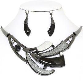 "20"" Necklace Earring Set Tooth Black Dark Gray FNE765"