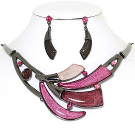 "20"" Necklace Earring Set Tooth Pink Dark Gray FNE766"