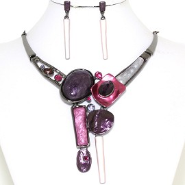 "19"" Necklace Earring Set Shapes Purple Magenta Dark Gray FNE767"