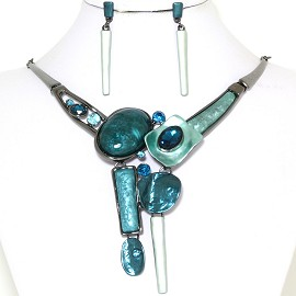 "19"" Necklace Earring Set Shapes Turquoise Dark Gray FNE768"