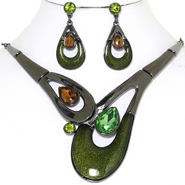 "19"" Necklace Earring Set Tear Doughnut Green Dark Gray FNE769"