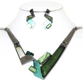 "20"" Necklace Earring Set Rectangles Green Dark Gray FNE776"