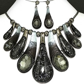 "20"" Necklace Earrings Crystal Black Gray FNE794"