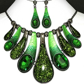 "20"" Necklace Earrings Crystal Green FNE796"