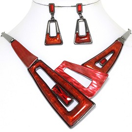 "20"" Necklace Earring Set Trapezoid Red Dark Gray FNE805"