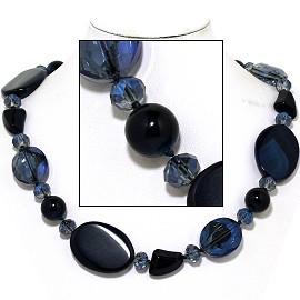 "20"" Necklace Mix Stone Quarts Oval Crystal Bead Dark Blue FNE806"