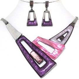 "20"" Necklace Earring Set Trapezoid Purple Pink Dark Gray FNE808"