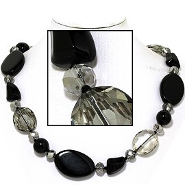 "20"" Necklace Mix Stone Quarts Oval Crystal Bead Black Gra FNE810"