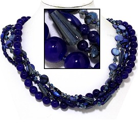 "20"" Four Line Necklace Mix Quarts Shape Crystal Bead Blue FNE833"