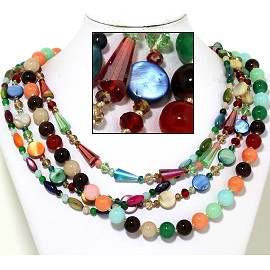"20"" Four Line Necklace Mix Quarts Shape Crystal Bead Mult FNE864"