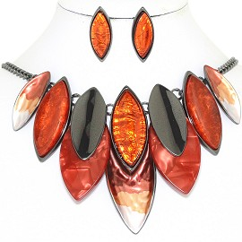 "20"" Necklace Earring Set Oval Point Gray Orange Red FNE865"