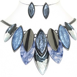 "20"" Necklace Earring Set Oval Point Gray Blue FNE870"