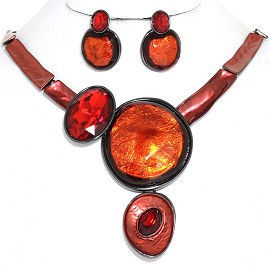 "20"" Necklace Earring Set Circles Oval Gray Red FNE880"