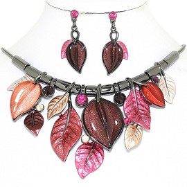 "20"" Necklace Earring Set Leaf Leaves Vine Gray Purple FNE896"