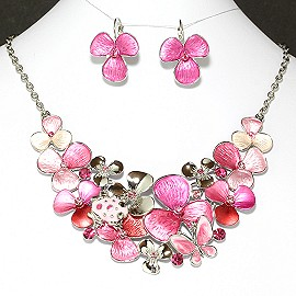 Necklace Earrings Set Flower Pink FNE902