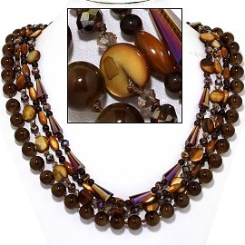Necklace Earring Set Bead Long Turquoise Gold Black FNE907