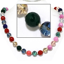 "20"" Necklace Crystal Ball Bead Magnetic Clasp Multi Color FNE913"