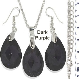 Necklace Earring Set Chain Teardrop Gem Silver Dk Purple FNE916