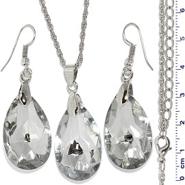 Necklace Earring Set Chain Teardrop Gem Silver Tone Clear FNE918