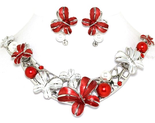 "19"" Butterfly Rhinestone Necklace Earrings Set Silver Red FNE919"
