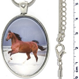 "Metallic 18"" Necklace Oval Horse Pendant Brown White FNE922"