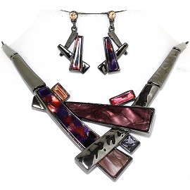 "19.5"" Necklace Earring Set Long Rectangle Gray Purple FNE925"
