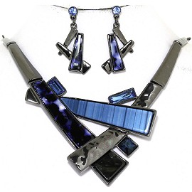 "19.5"" Necklace Earring Set Long Rectangle Gray Blue FNE926"