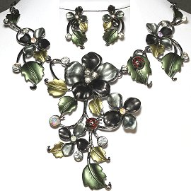 Necklace Earring Set Flower Rhinestone Black Gray Green FNE932