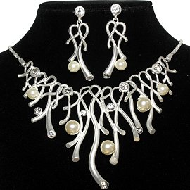 Necklace Earring Set Curve Line Faux Pearl Silver Cream FNE933