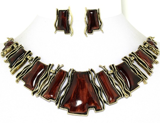 "20"" Rectangle Necklace Earrings Set Bronze Brown FNE936"