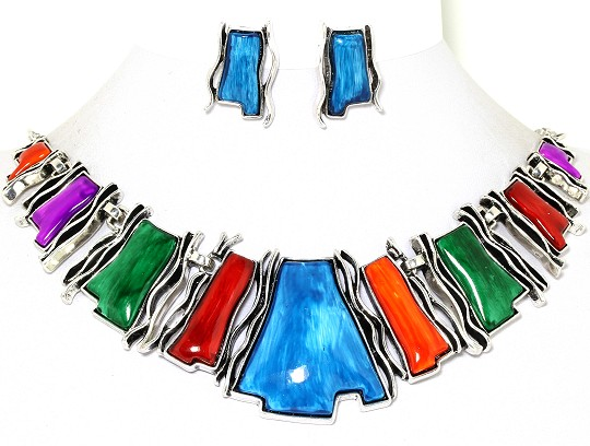 Necklace Earrings Set Circles Silver Lavender Turquoise FNE938