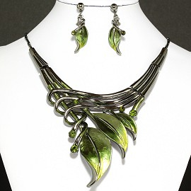 Necklace Earrings Set Leaf Green Dark Gray FNE944