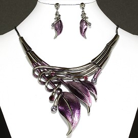 Necklace Earrings Set Leaf Purple Silver FNE945
