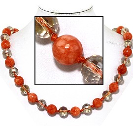 "20"" Necklace Crystal Ball Bead Magnetic Clasp Orange Clea FNE950"