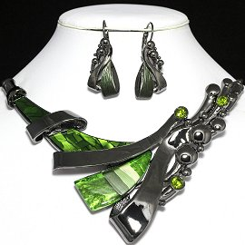 Necklace Earrings Set Line Gray Green FNE952