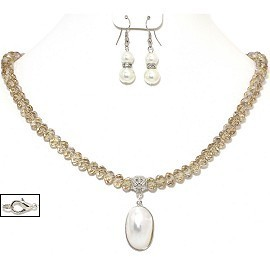 Mother Of Pearl Pendant Crystal Necklace Earrings Tan A FNE962