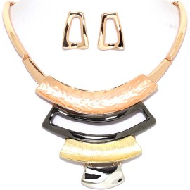 "15""-18"" Necklace Earrings Rectangle Curve Bar Multi Tone FNE970"