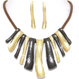 "16""-19"" Necklace Earrings Down Curve Lines Two Tone Brown FNE972"