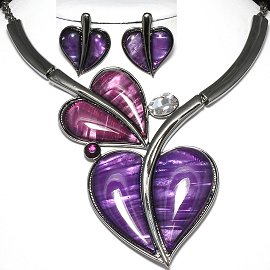 Antique Necklace Earring Set Heart Gray Purple FNE973
